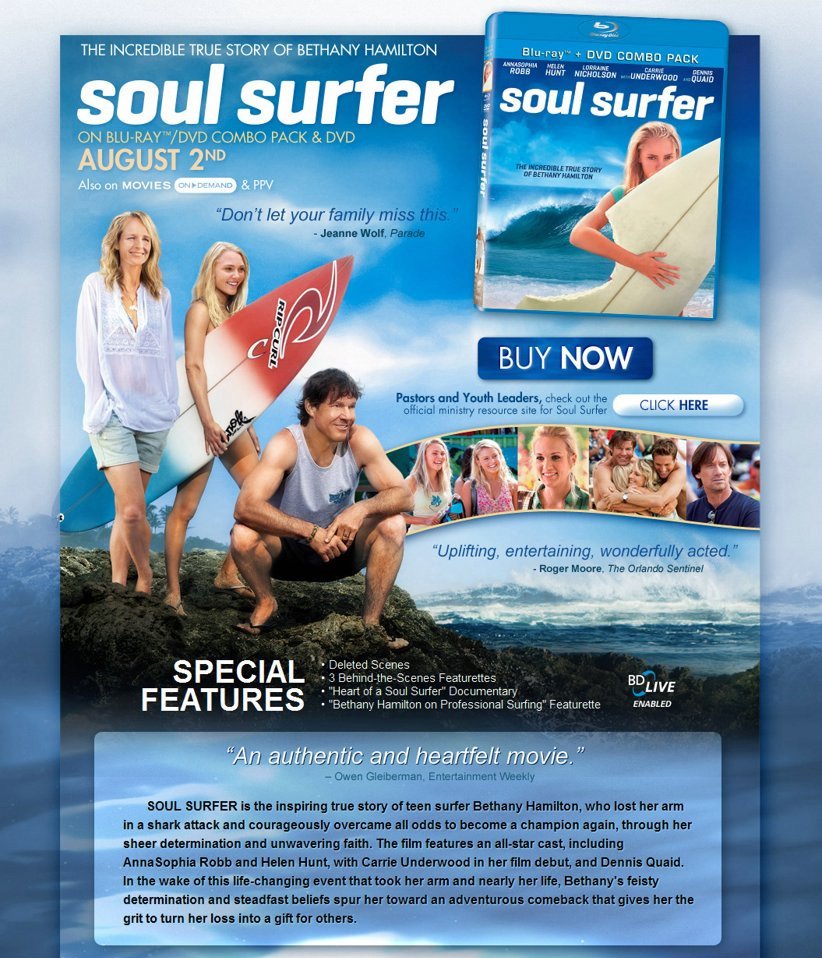 soul surfer Soul surfer is based on a true story, about a teenage girl, bethany hamilton (annasophia robb), who has to gain the courage to surf again, after losing her a.